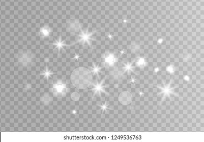 White sparks and silver stars glitter special light effect. Vector sparkles on transparent background. Christmas Sparkling magic dust particles.