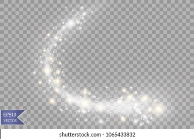 White sparks and stars glitter special light effect. Sparkling magic dust particles.Light flare special effect with rays of light and magic sparkles. Glow transparent vector, explosion, glitter.