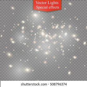 White sparks and stars glitter special light effect. Sparkling magic dust particles