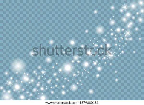 White sparks and stars glitter special light effect. Christmas abstract pattern. Sparkling magic dust particles. Vector sparkles on transparent background.