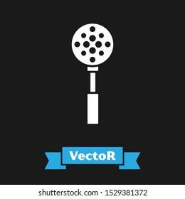 White Spatula icon isolated on black background. Kitchen spatula icon. BBQ spatula sign. Barbecue and grill tool.  Vector Illustration