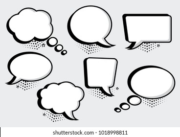 White speech bubbles collection in pop art style. Blank empty speech bubbles for your text with halftone shadows. Vector illustration