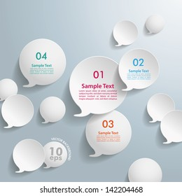White speech bubbles with numbers on the grey background. Eps 10 vector file.