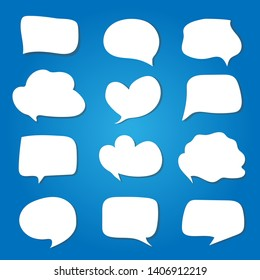 white speech bubbles on a blue background.