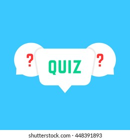 white speech bubbles with quiz. concept of solution survey, choose, game time, inquirer, issue, problem solve, quizz. flat style trend modern logotype design art vector illustration on blue background