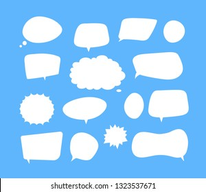 White speech bubbles. Thinking balloon talks bubbling chat comment cloud comic retro shouting voice shapes vector isolated set