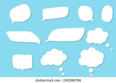White speech bubbles. Thinking balloon talks bubbling chat comment cloud comic retro shouting voice shapes isolated set.vector illustration