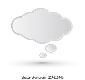 White Speech or Think Bubble Cloud Style Abstract Vector