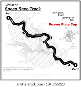 White speed track map with black road and sample text