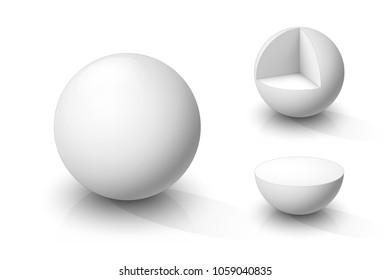 White sphere, cutaway sphere and hemisphere . Vector illustration