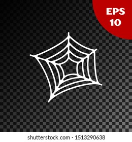 White Spider web icon isolated on transparent dark background. Cobweb sign. Happy Halloween party.  Vector Illustration