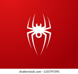 white Spider with wrench body on red background