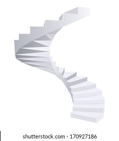 White Spiral staircase. Vector illustration.