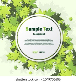 White spring background with green leaves and frame for sample text or sale promotion