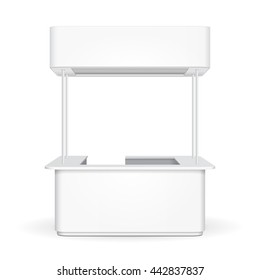 White Sqaure POS POI Blank Empty Advertising Retail Stand Stall Bar Display With Roof, Canopy, Banner. On White Background Isolated. Mock Up Template Ready For Your Design. Product Advertising Vector