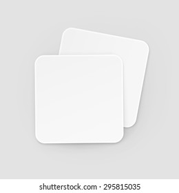 White Square Blank Beer Coasters Vector Isolated Illustration