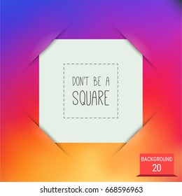White square blank photo frame inserted in a slots. Colorful smooth gradient as a background.