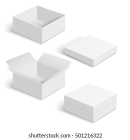 White square box vector templates set isolated on white background. Paper container for product and pack cardboard illustration