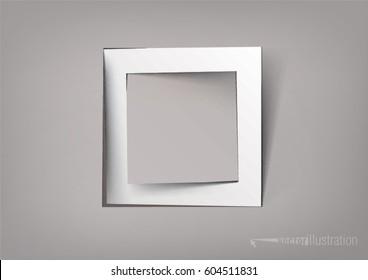 white square cut paper frame