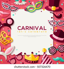 White Square Frame with Carnival Masks and Objects on Purple Background. Vector illustration.