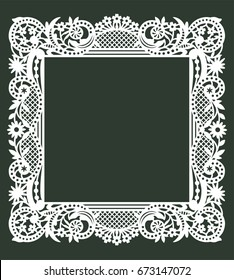 White Square Frame. Lazer Cut Envelope Template.
