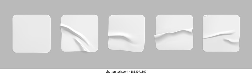 White square glued stickers mock up set. Blank white adhesive square paper or plastic sticker label with wrinkled, crumpled effect. Blank template label tags. 3d realistic vector