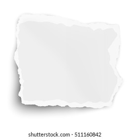 White square paper tear isolated on white background with soft shadow
