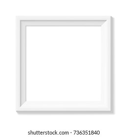 White square picture frame. Minimalistic detailed photo realistic frame. Graphic design element for scrapbooking, art work presentation, web, flyers, posters. Vector illustration.