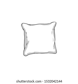 White square pillow drawing - soft hand drawn cushion outline isolated on white background. Colorless bedding decoration element - vector illustration.