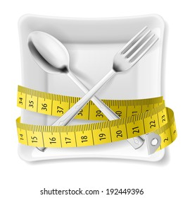 White square plate with crossed spoon and fork and tape measure around