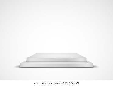 White square podium on light background. Empty pedestal for award ceremony. Vector illustration.