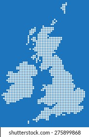 White square round edge map of United Kingdom and Ireland. Vector illustration.