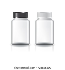 White square supplements, medicine bottle (black & white lid) for beauty or healthy product. Isolated on white background with reflection shadow. Ready to use for package design. Vector illustration.