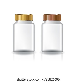 White square supplements, medicine bottle (gold & copper lid) for beauty or healthy product. Isolated on white background with reflection shadow. Ready to use for package design. Vector illustration.