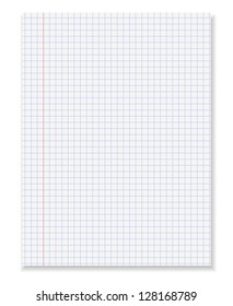 White squared paper sheet.Vector illustration