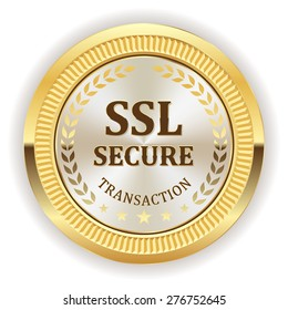 White ssl secure badge with gold border on white background