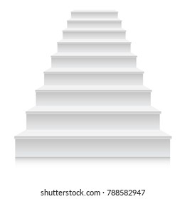 White stair template front view 3D isolated vector illustration.