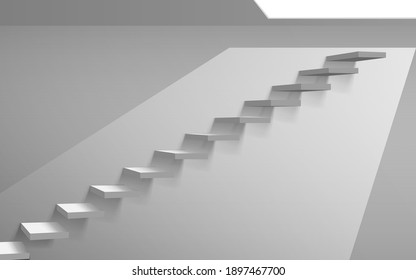 white staircase with light on the white ceiling