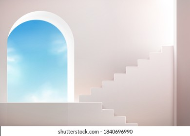 White stairs with arch wall and sky. Empty podium for product showcase in 3d illustration.