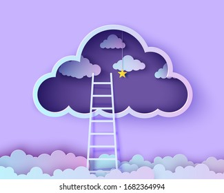 White stairs to climb above the clouds in the style of paper cut. Papercut night landscape climbing stairs to the sky and trying to achieve success Follow your dream vector motivational poster concept