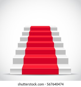 White stairs covered with red carpet - vector illustration