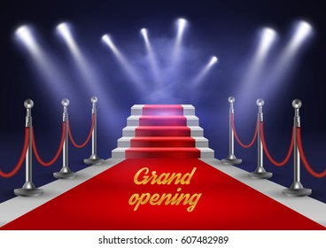 White stairs covered with red carpet and illuminated by spotlight realistic vector illustration EPS10