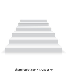 White stairs realistic illustration, vector
