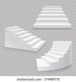 White stairs realistic isolated set. 3d staircases vector.