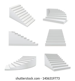 White stairs realistic set, architecture and progress element. Set of steps for leading from one floor of a building to another. Vector realistic stairs illustration