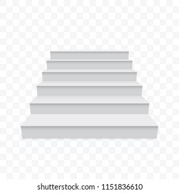 White stairs or staircase front up vector 3D realistic isolated on transparent background