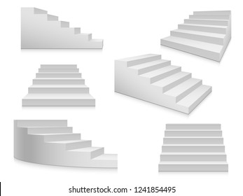 White stairs. Staircase isolated, 3d stairway for interior staircases. Steps ladder architecture element vector collection