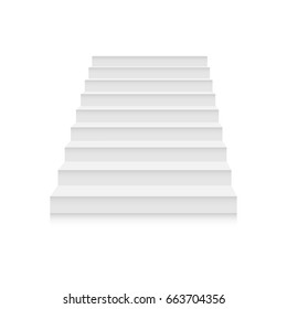 White stairs template. Interior staircases in cartoon style isolated on white background. Home modern staircase concept. Vector 3d illustration eps10
