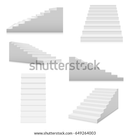 white stairs template set interior staircases のベクター画像素材