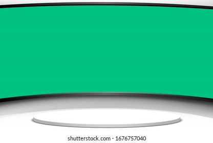 white stand with green screen in lcd  background in the news studio room
